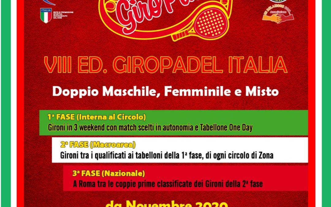 "TORNEO ""GIRO PADEL"" dal 23 novembre all'ISLAND FUN VILLAGE"